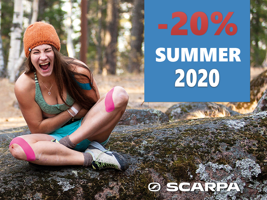 – 20% discount on summer 2020 collection from scarpa at basecamp!